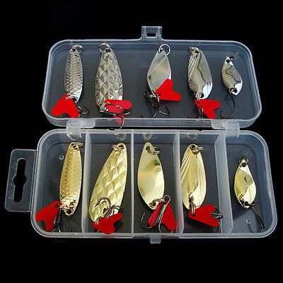 10 Pcs Metal Fishing Lures Bass Spoon Crank Bait Saltwater Tackle Hooks with Box