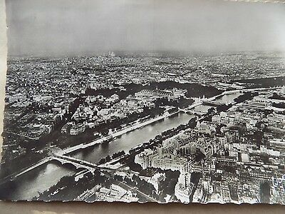 Old Posted Postcard 1948 Paris Aerial View Rive Eifel Tower France  b