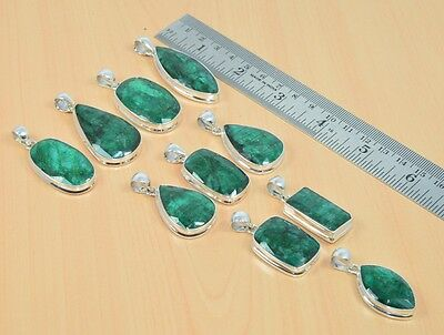 Wholesale 10Pc 925Solid Sterling Silver Natural Mm Cut Green Emerald Pendant Lot