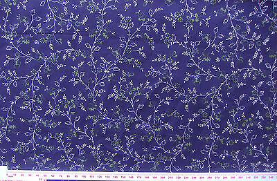 "Laura Ashley navy delicate design cotton lawn 2.66 yds x 58"". Vintage 1980s"