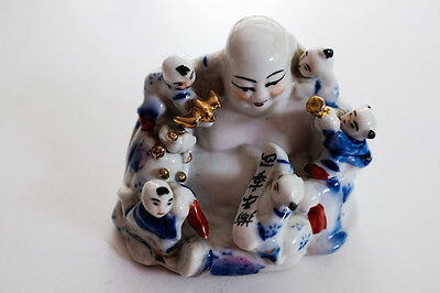 Vintage Porcelain Chinese Laughing Happy Buddha Hotei Famille Rose