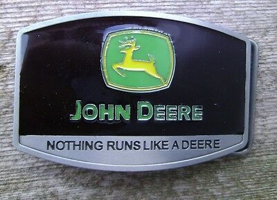 John Deere Tractor Belt Buckle Silver / Green / Black NEW