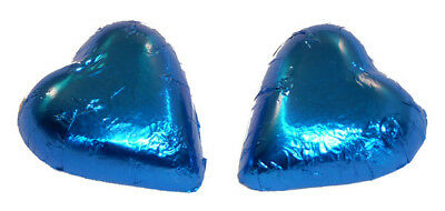 Chocolate Gems - Chocolate Hearts - Electric Blue Foil  (500g bag / approx 60...