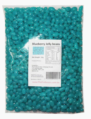 Sweet Treats Mini Jelly Beans - Blue with a Blue Berry Flavour (1kg Bag)