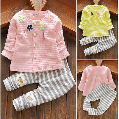 2PCS Baby Girls Toddler Kids Flower Outfits Cardigan Coat Tops+Striped Pants Set