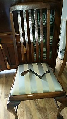 antique blackwood table,6 chairs and 2 extensions, including table winder