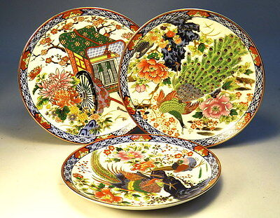 x3 Collectable Japanese Plates Painted Scenes & Stamped VGC (WH_0403)