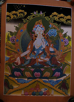 "Natural Color Goddess White Tara 15""x 11"" Thangka Hand Painting Nepal"