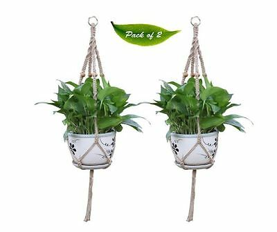 Vintage Hanging Plant Pot Rope Holder, Garden / Balcony, Outdoor Home Container