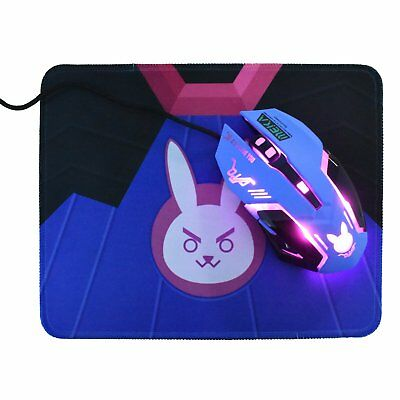 Overwatch D.va Dva USB Wired Mouse Bunny Cosplay Night Lights Free Laptop PC Pad