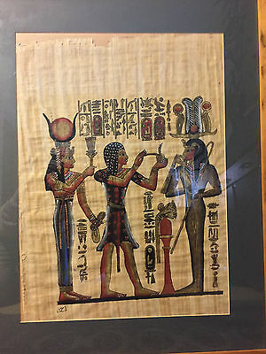 Large Egyptian Scroll in wooden frame and glass 75.5 x 60.5cm
