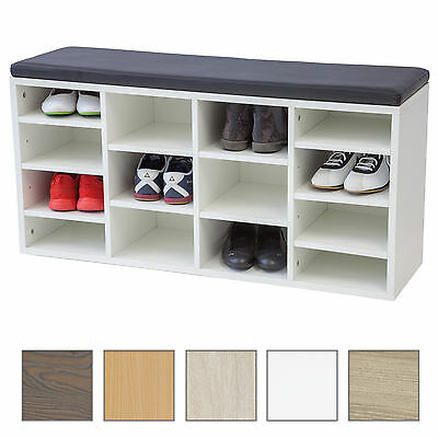 schuhschrank vincent mit sitzkissen weiss kommode schuhregal schuhablage eur 49 99. Black Bedroom Furniture Sets. Home Design Ideas