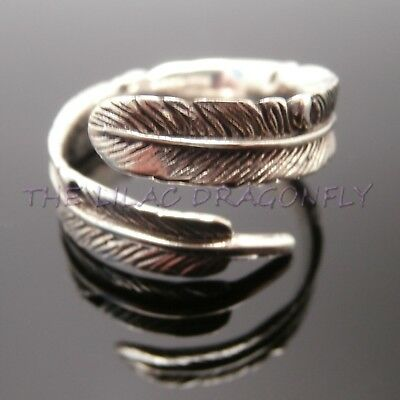 925 Sterling Silver Adjustable Curved Chunky Wrap Feather Ring US 6-9 GiftBag UK