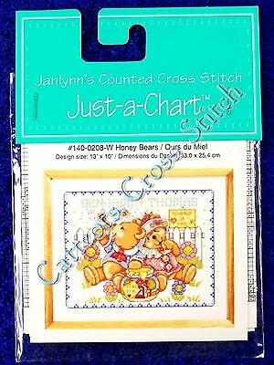 Cross Stitch Chart Honey Bears Baby Bear Birth Record Announcement Pattern