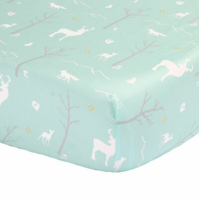 Mint Green Woodland Fitted Crib Sheet - 100% Cotton Sateen Forest Animal Theme