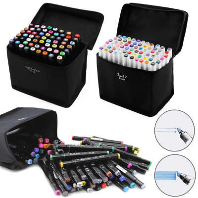 60 Colour Set Twin Tips Marker Pen Touch New Art Sketch Graphic Drawing Glove UK