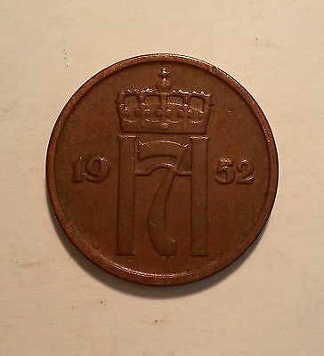 1952 Norway 2 Ore Coin.  Excellent Condition