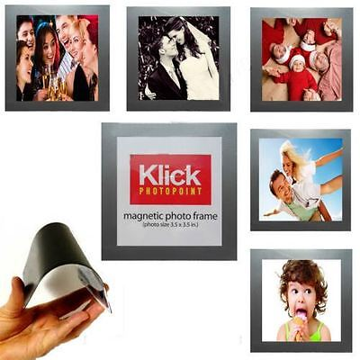 "4 X Magnetic Photo Picture Frame Photograph Pockets 3.5""x3.5"" Fridge Magnets"