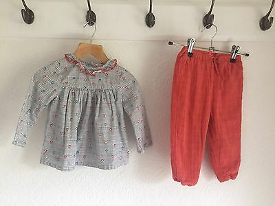 JOHN LEWIS ~ Girls 2 Piece Outfit Top & Trousers Age 6-9 MONTHS.