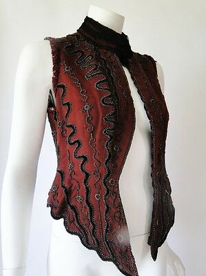 Antique Dress-Victorian Beaded Bodice With Stays,steel Cut Beads