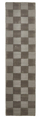 80x400cm Runner Modern Floor Area Rug Wool Brown Checkered Solid Colour FREE SHI
