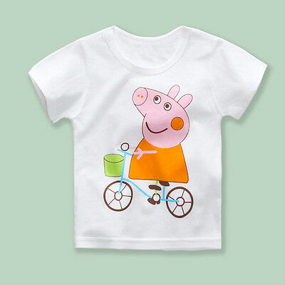 Cartoon Peppa Pig Round-neck Cotton Kids Girls T-shirts Short Sleeve Clothes Top