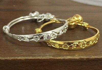 2 x Floral Beautiful Baby Silver Jingly Bangle Bracelet Anklet -Adjustable