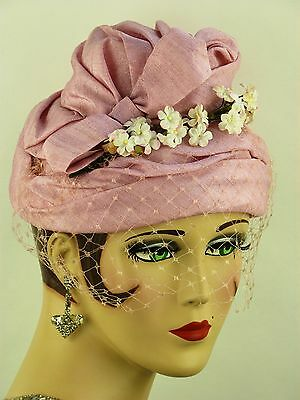 VINTAGE HAT 1950s ENGLISH, PASTEL PINK MAUVE SILKY BEEHIVE HAT w VEIL & FLOWERS