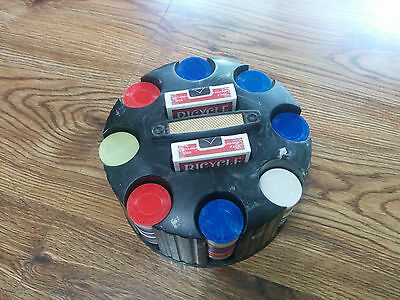 Vintage  Poker Chip Holder, with poker chips and 2 new decks of Bicycle cards