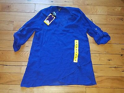 NWT Womens Cobalt FEVER Lightweight Roll Tab Bohemian Tunic Blouse Size Small S