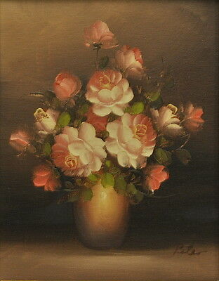 Original Stunning Oil Painting On Canvas Pink Roses Signed Gilt Frame