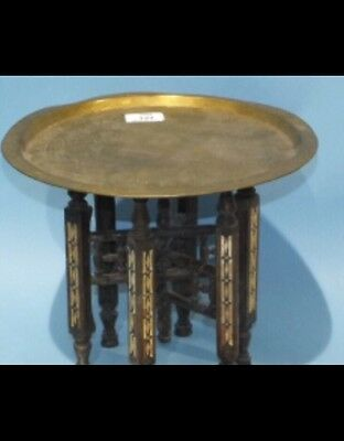 "Benares Style Circular Brass Tray On The Folding Wood Stand GC 12""Diameter"