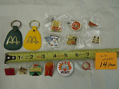 Lot of (14) McDonald's collectible pin keychain button pinback tack collection