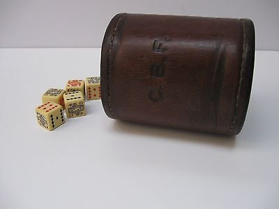 Antique George Lawrence Leather Dice Shaker Cup Cowboy Western Bar Tavern Cafe