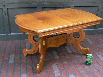 Beautiful Refinished Antique 1890s Victorian Eastlake Light Walnut Coffee Table