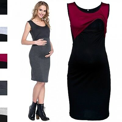 Happy Mama Women's Maternity Layered Pencil Dress Sleeveless Breastfeeding. 466p