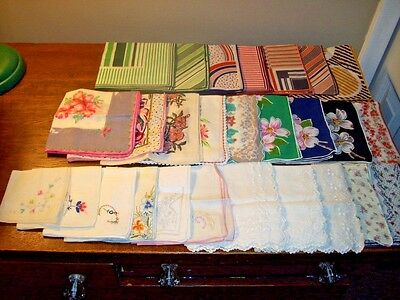 Lot 60 Vintage Ladies Hankies Handkerchiefs Floral Embroidery Lace Wedding Mono