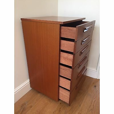 Schreiber Teak Tall Boy Chest Of Drawers Retro