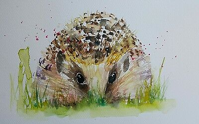 "ELLE SMITH ART. ORIGINAL NEW SIGNED LARGE WATERCOLOUR PAINTING. 16x12"" HEDGEHOG"