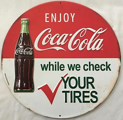 Coca Cola Round Embossed Metal Sign, Automobile Service Station  ORB-0135