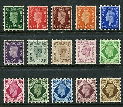 Gb Great Britain Gvi 1937 Sg462-Sg475 Definitive Set Mnh Unmounted.