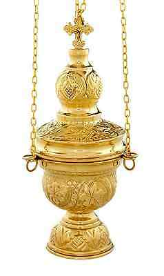 Orthodox church censer incense burner thurible polished brass 24cm 4 chain