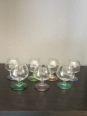 Blown Glass 7 Cordial Small Vintage Stemmed Footed Art Delicate Colors Liquors