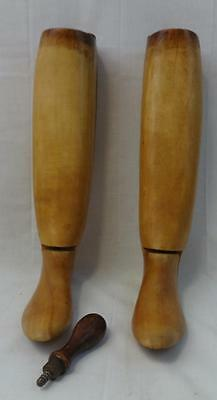 Antique Pair of Wooden Boot Trees or Forms Probably Female Size