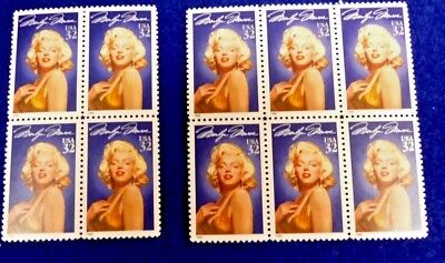 Us 1995 Legends Of Hollywood Marilyn Monroe Stamp Blocks  32 Cent Stamps  Nh