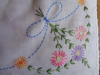 "Vintage Tablecloth White Pretty Hand Embroidered Flowers 34"" x 32"""