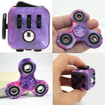 Purple Galaxy Hand Fidget Spinner + Cube Anxiety Stress Relief Focus Adults Set#