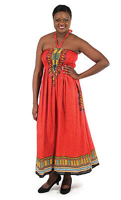 African Women's Traditional Print Tube Maxi Sun Dress, Red, One Size, NWT