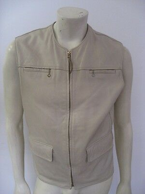 Vintage 1950s 60s Deerskin Leather Motorcycle Hunting Vest Jacket Size M/L