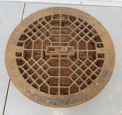 "Vtg. Antique Gothic Cast Iron Floor Grill Grate Register Vent 9.5"" Round Damper"
